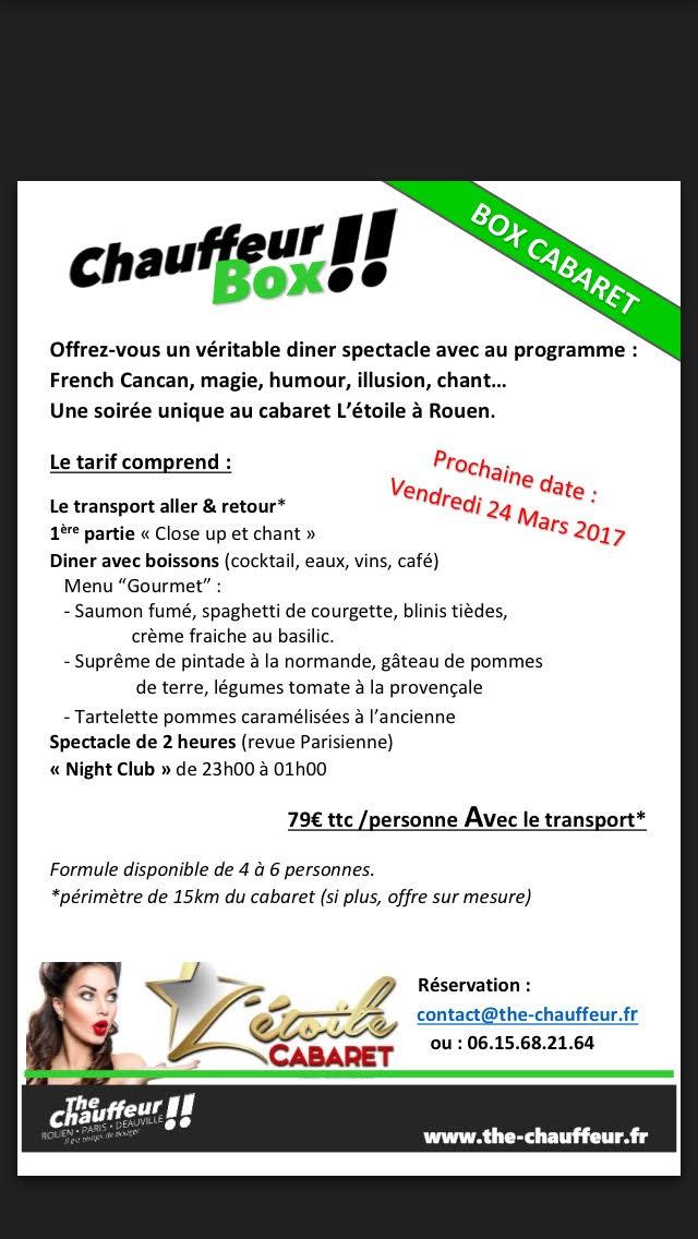 Chauffeur BOX Gourmande & Cabaret pour le mois de Mars
